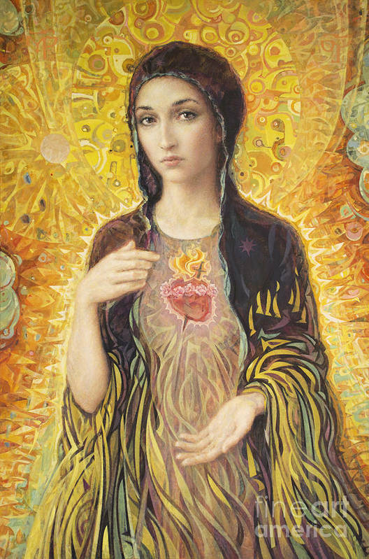 Immaculate Heart Of Mary Art Print featuring the painting Immaculate Heart of Mary olmc by Smith Catholic Art