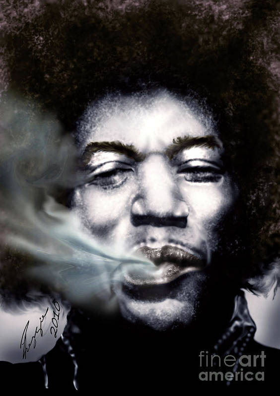 Jimi Hendrix Art Print featuring the painting Jimi Hendrix-Burning Lights-2 by Reggie Duffie