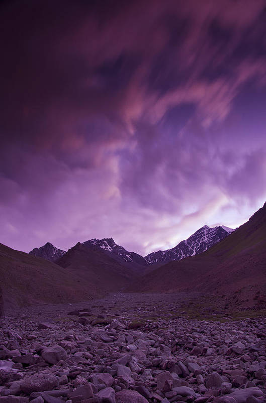Mountains Art Print featuring the photograph Kangri Twilight by Aaron Bedell