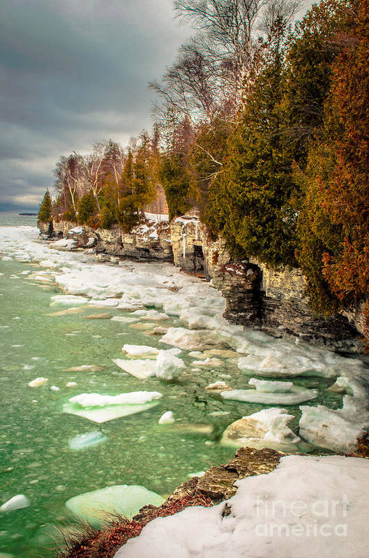 Cave Point Art Print featuring the photograph Late Winter At Cave Point by Ever-Curious Photography