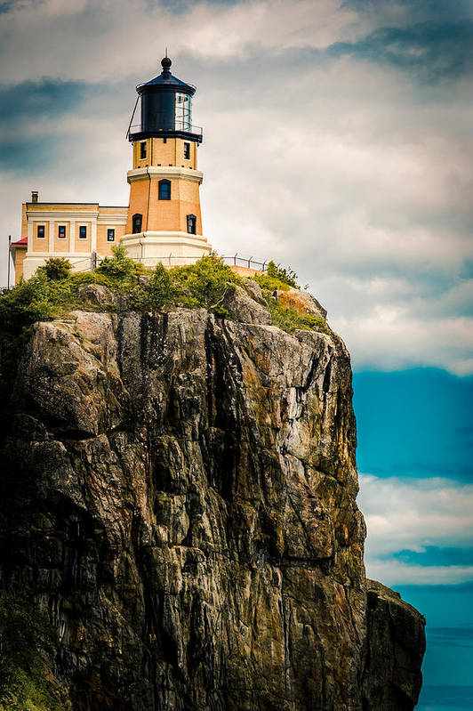 Two Harbors Art Print featuring the photograph Lighthouse On Split Rock by Ever-Curious Photography