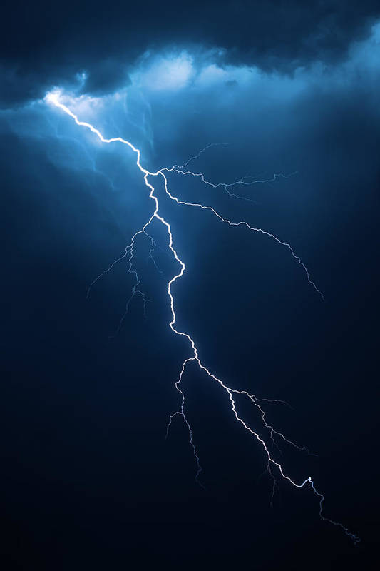 Lightning Art Print featuring the photograph Lightning with cloudscape by Johan Swanepoel