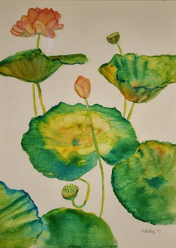 Art Print featuring the painting Lilypads 1 by Helen Hickey