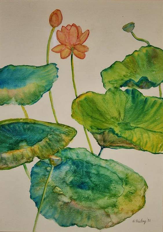 Art Print featuring the painting Lilypads 2 by Helen Hickey