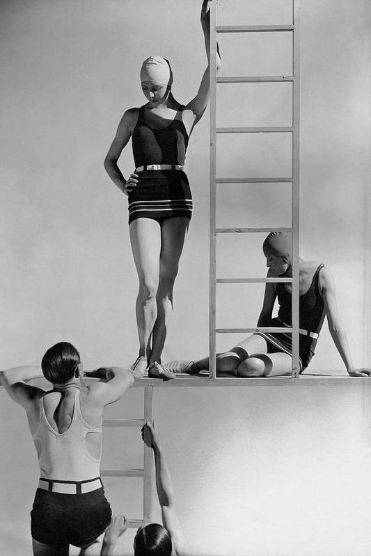Fashion Art Print featuring the photograph Models Wearing Bathing Suits by George Hoyningen-Huene