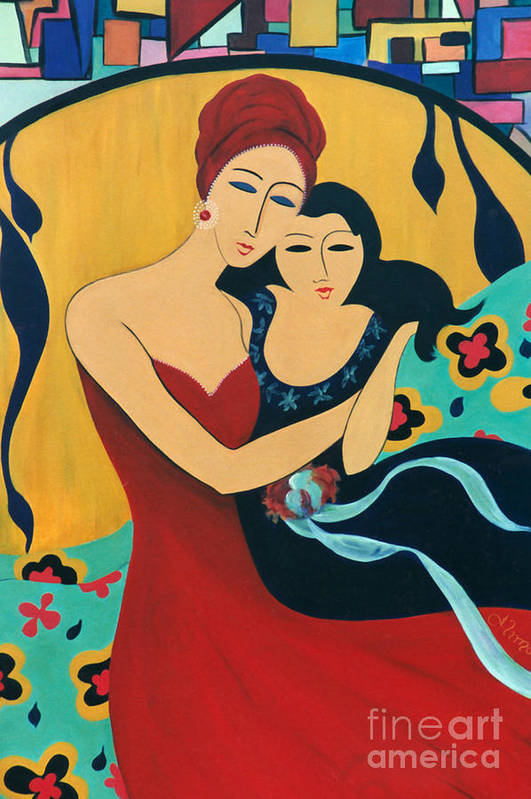 #motherandchild Art Print featuring the painting Mother and Child by Jacquelinemari