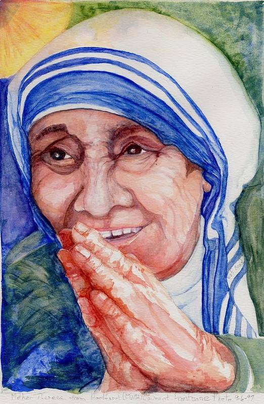 Elle Fagan Art Print featuring the painting Mother Teresa by Elle Smith Fagan