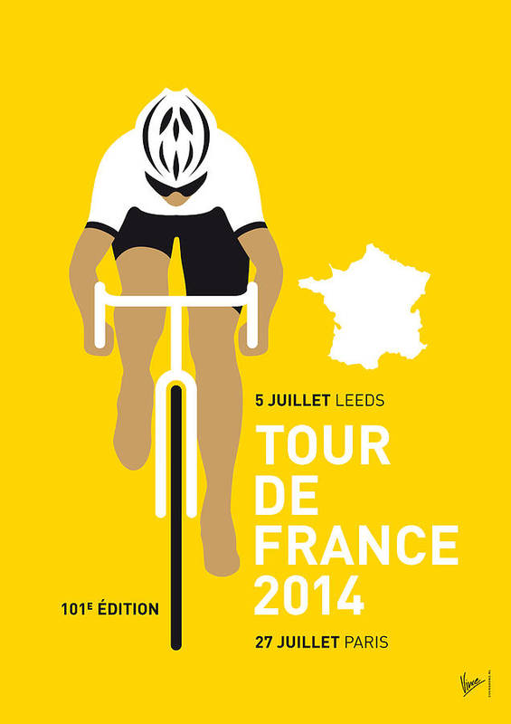Minimal Art Print featuring the digital art My Tour De France Minimal Poster 2014 by Chungkong Art