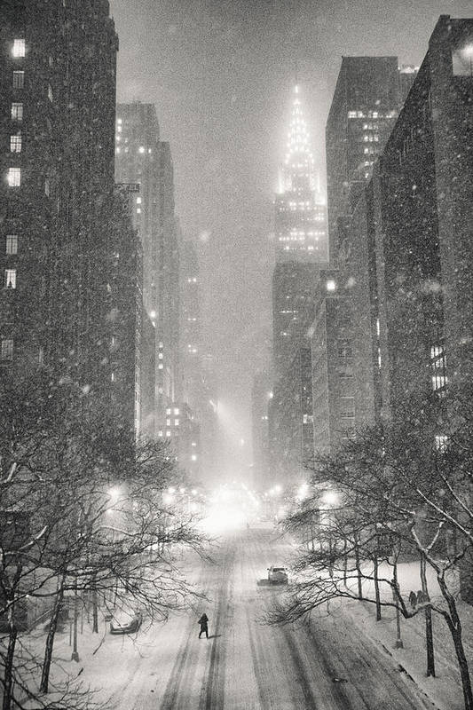 Nyc Art Print featuring the photograph New York City - Winter Night Overlooking the Chrysler Building by Vivienne Gucwa