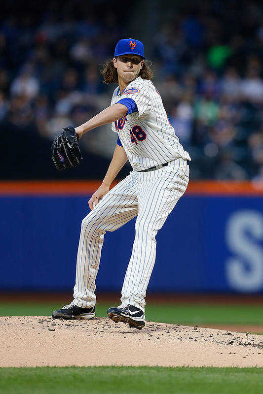 Jacob Degrom Art Print featuring the photograph New York Yankees v New York Mets by Mike Stobe