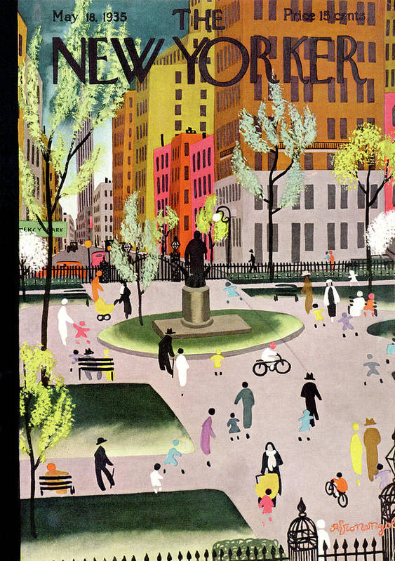 Park Art Print featuring the painting New Yorker May 18, 1935 by Adolph K Kronengold