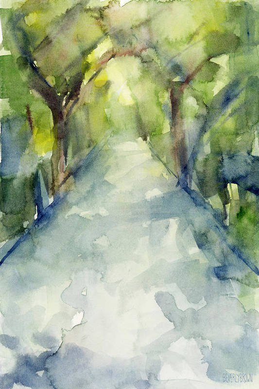 Garden Art Print featuring the painting Path Conservatory Garden Central Park Watercolor Painting by Beverly Brown
