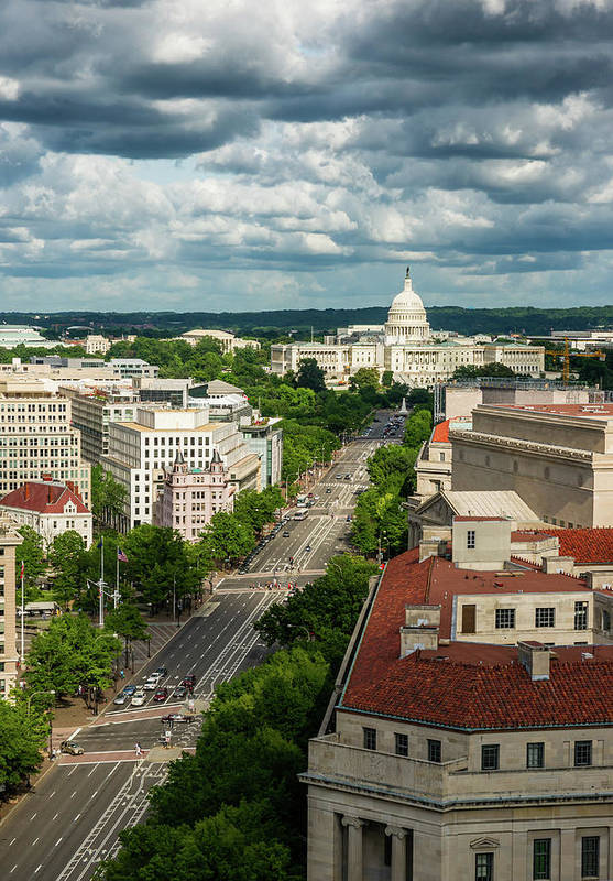 Built Structure Art Print featuring the photograph Pennsylvania Avenue Leading Up To The by Miralex