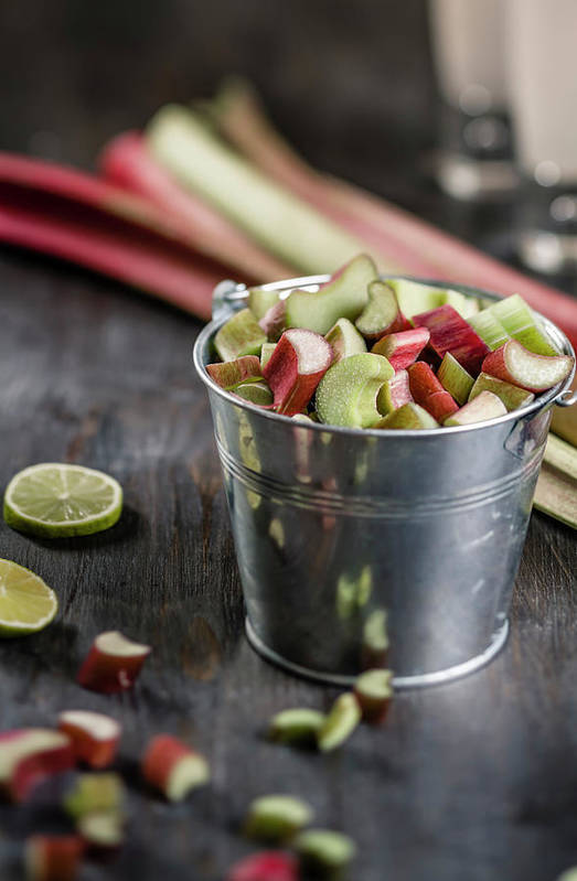 Bucket Art Print featuring the photograph Pieces Of Rhubarb In Metal Bucket And by Westend61