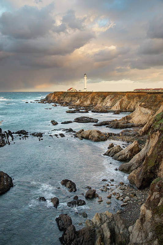 Headland Art Print featuring the photograph Point Arena Headland And Lighthouse by Kjschoen
