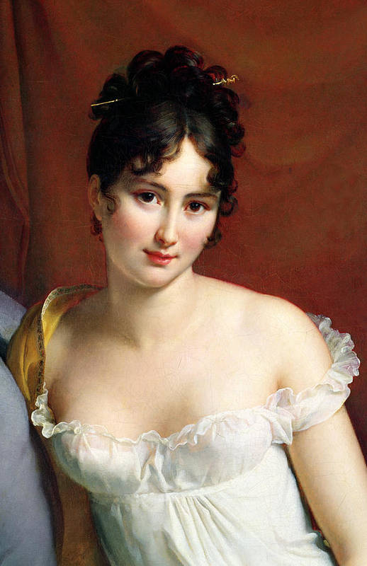 Empire Line Dress Art Print featuring the painting Portrait Of Madame Recamier by Francois Pascal Simon Baron Gerard