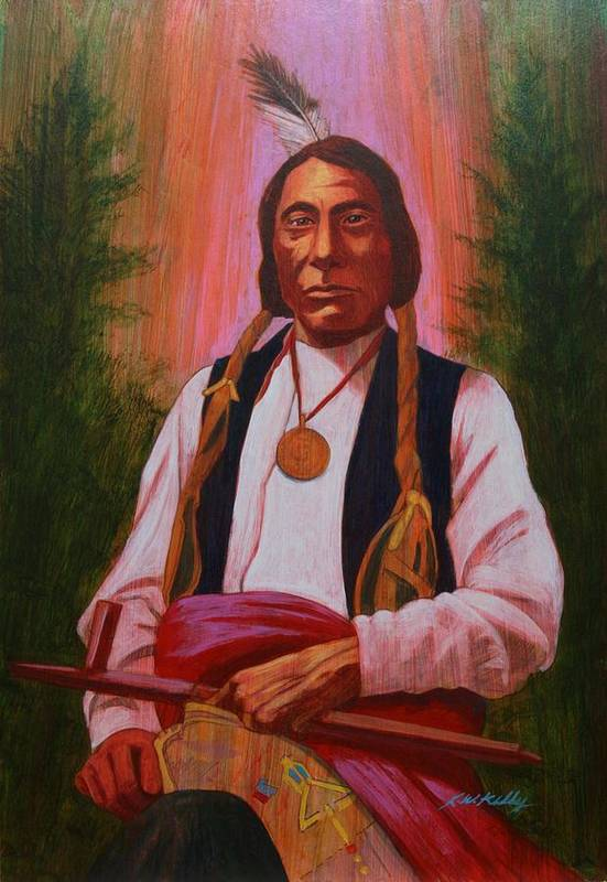 Red Cloud Art Print featuring the painting Red Cloud Oglala Lakota Chief by J W Kelly