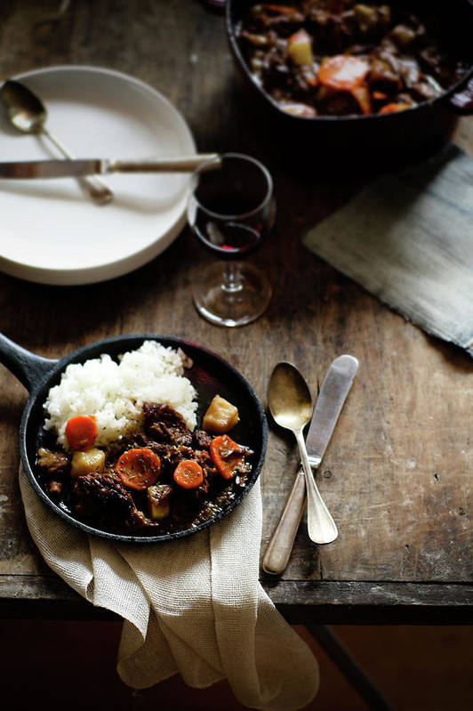 Spoon Art Print featuring the photograph Red Wine Braised Beef by 200
