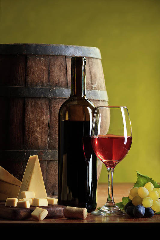 Cheese Art Print featuring the photograph Red Wine Composition by Valentinrussanov