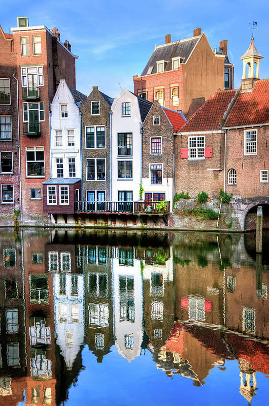 Dawn Art Print featuring the photograph Rotterdams Delfshaven With His Historic by Aleksandargeorgiev