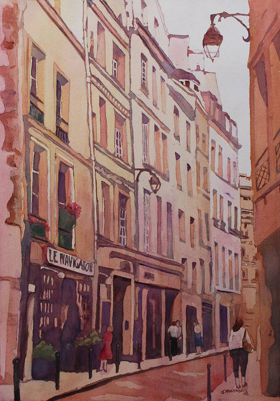 Rue Galande Art Print featuring the painting Rue Galande by Jenny Armitage