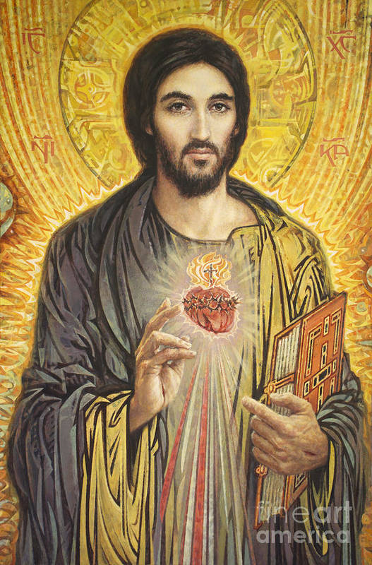 Sacred Heart Of Jesus Art Print featuring the painting Sacred Heart of Jesus olmc by Smith Catholic Art