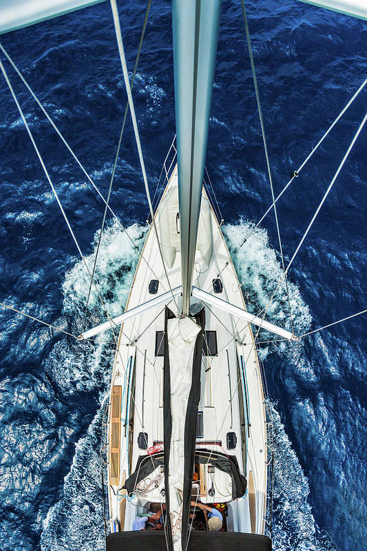 Adriatic Sea Art Print featuring the photograph Sailboat From Above by Mbbirdy