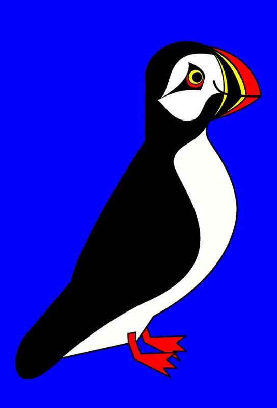 Arctic-puffin-sea-parrot Art Print featuring the digital art Sea-Parrot by Asbjorn Lonvig