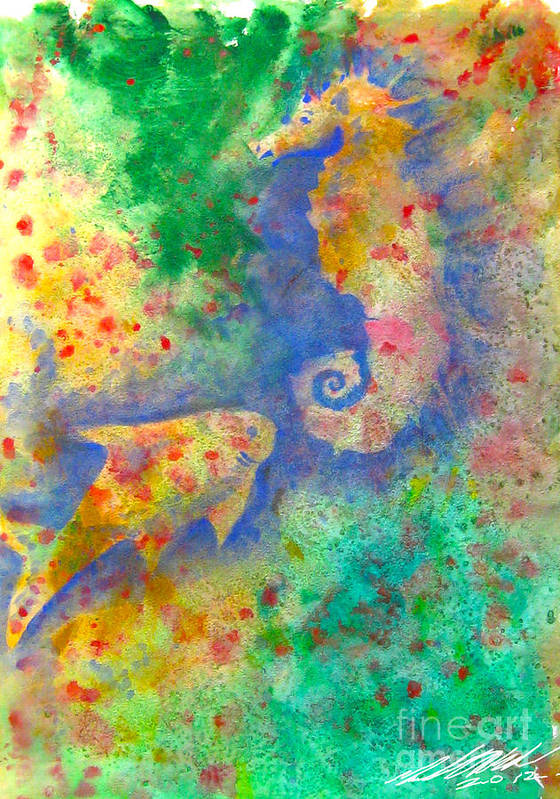 Seahorse Art Print featuring the painting Seahorse Reef by Michael D