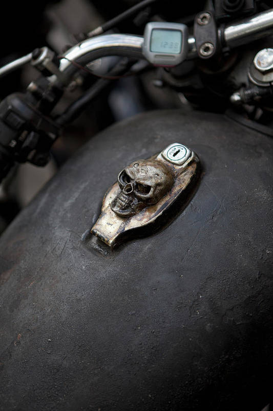 Berlin Art Print featuring the photograph Skull Design On Motorcycle Ignition by Andreas Schlegel