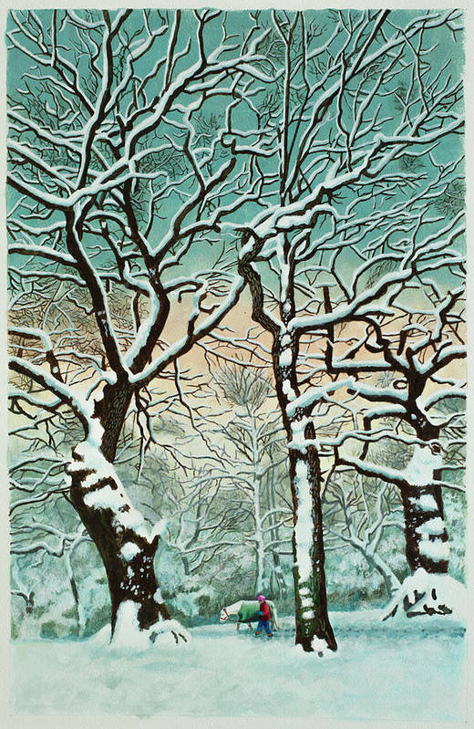 People Art Print featuring the digital art Snow In Forest by Georgette Douwma