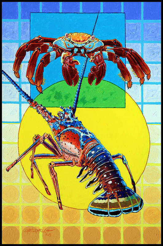 Crab Art Print featuring the painting Square Verses the Circle by John Lautermilch