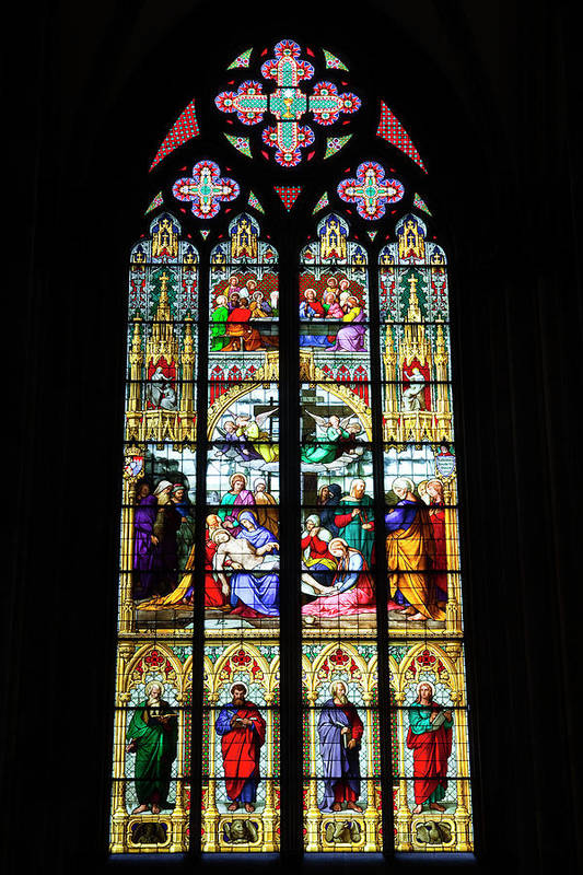 Gothic Style Art Print featuring the photograph Stained Glass Window In Cologne by Julian Elliott Photography