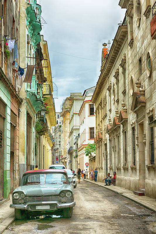 Apartment Art Print featuring the photograph Street In Old Havana, Cuba, After Rain by Elisabeth Pollaert Smith