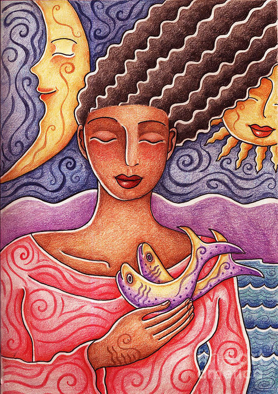 Woman Art Print featuring the drawing Sun Fish Moon by Elaine Jackson