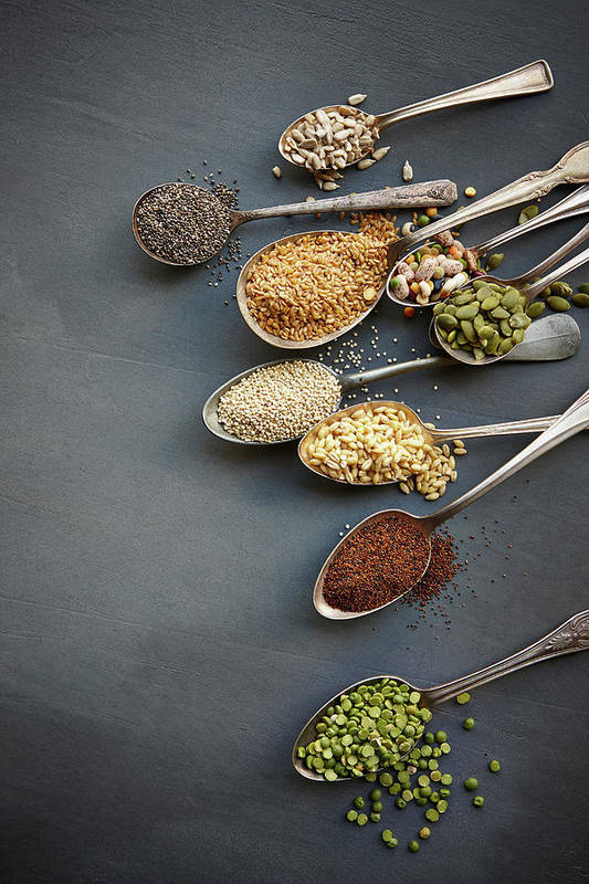 In A Row Art Print featuring the photograph Super Food Grains On Spoons by Lew Robertson