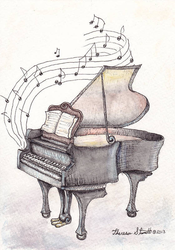 Piano Art Print featuring the painting Symphony by Theresa Stinnett