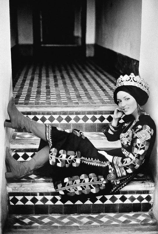 Society Art Print featuring the photograph Talitha Getty Wearing A Berber Wedding Dress by Maurice Hogenboom