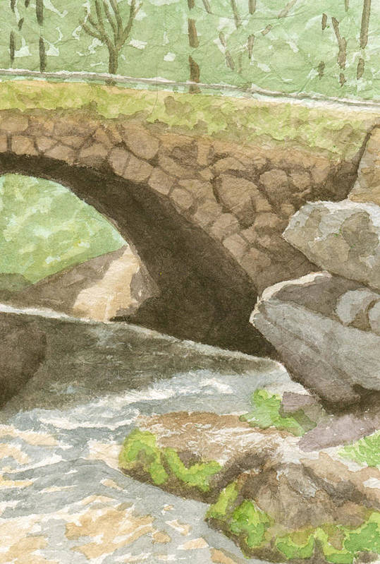 Water Art Print featuring the painting The Bridge at Gleason Falls by Sharon E Allen