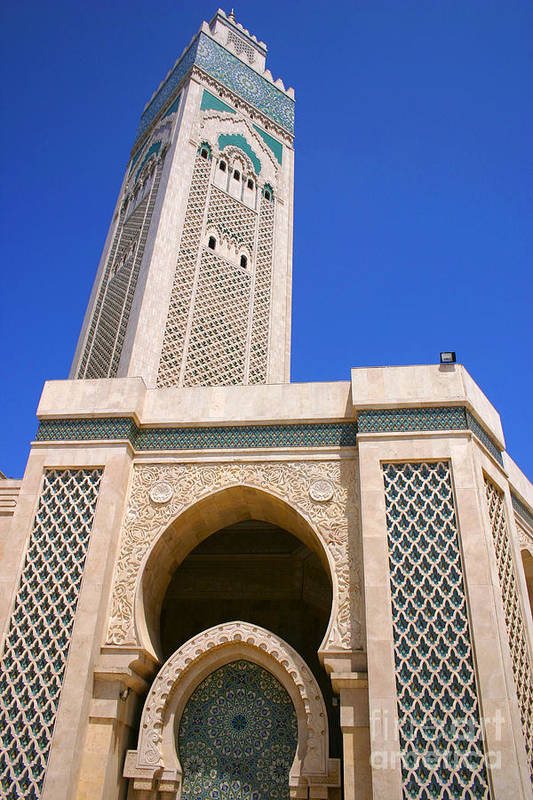 Hassan Ii Mosque Art Print featuring the photograph The Hassan II Mosque Grand Mosque with the Worlds Tallest 210m Minaret Sour Jdid Casablanca Morocco by PIXELS XPOSED Ralph A Ledergerber Photography