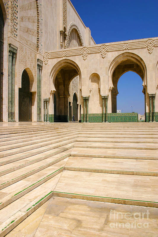 Colonnades Leading To Mosque Art Print featuring the photograph The Massive Colonnades leading to the Hassan II Mosque Sour Jdid Casablanca Morocco by PIXELS XPOSED Ralph A Ledergerber Photography