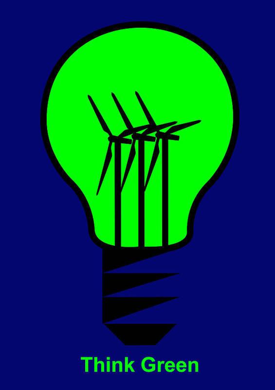 Think Green Art Print featuring the digital art Think Green by Asbjorn Lonvig