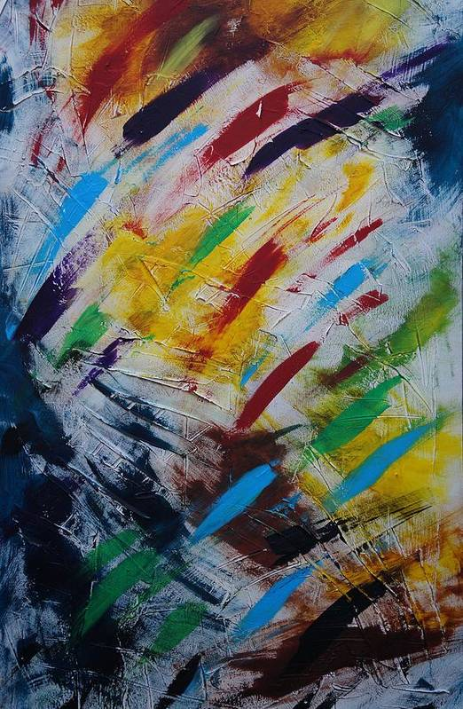 Abstract Art Print featuring the painting Time stands still by Sergey Bezhinets