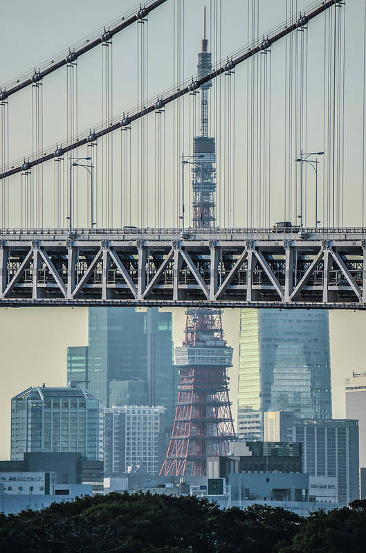 Tokyo Tower Art Print featuring the photograph Tokyo Tower And Rainbow Bridge by Image Courtesy Trevor Dobson
