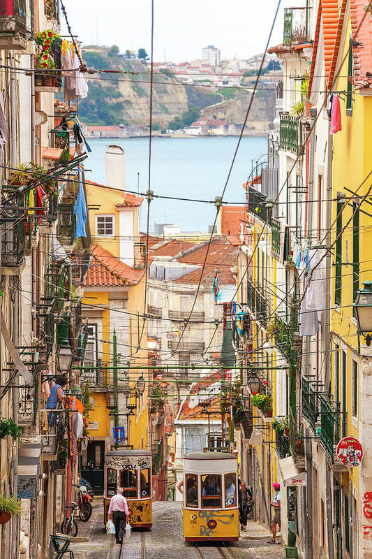 People Art Print featuring the photograph Tram, Barrio Alto, Lisbon, Portugal by Peter Adams
