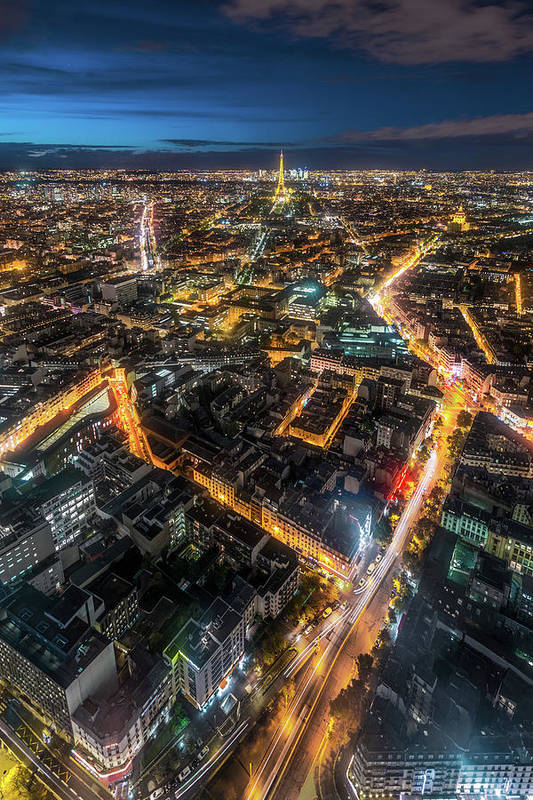 Tranquility Art Print featuring the photograph Twilight City View Of Paris by Coolbiere Photograph