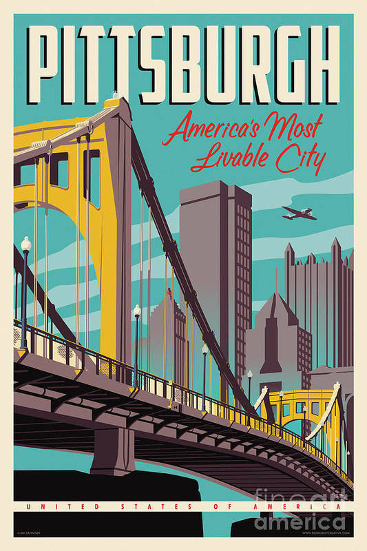 Pittsburgh Art Print featuring the digital art Pittsburgh Poster - Vintage Travel Bridges by Jim Zahniser