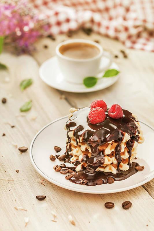 Breakfast Art Print featuring the photograph Waffles With Raspberry, Chocolate Sauce by Da-kuk