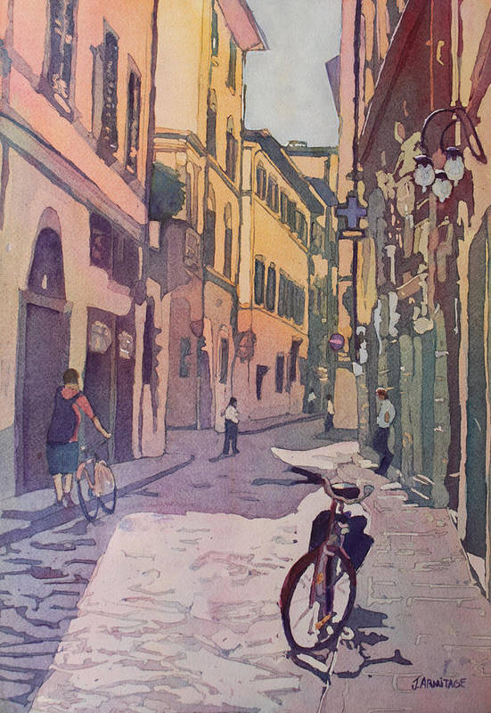 Florence Art Print featuring the painting Waiting Bike by Jenny Armitage