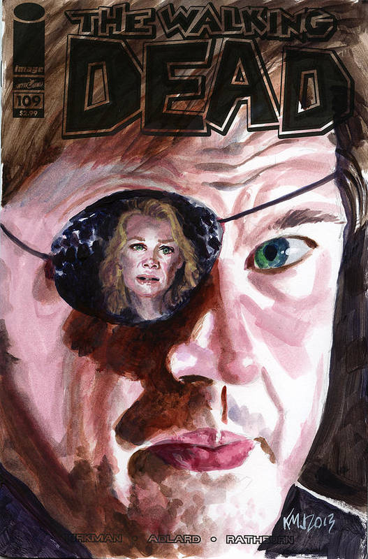 Walking Dead Art Print featuring the painting Walking Dead Governor Andrea by Ken Meyer jr